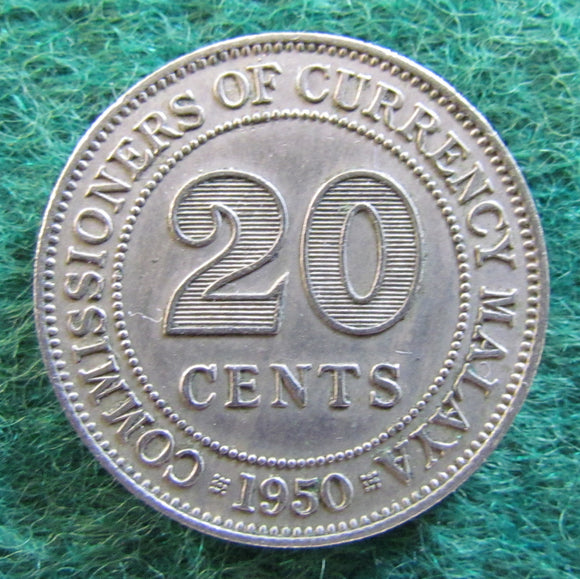 Malaya 1950 20 Cent King George VI Coin