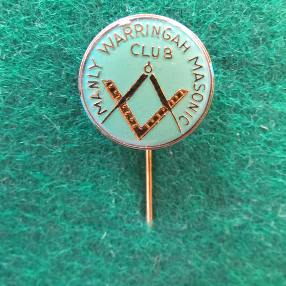 Manly Warringah Masonic Club Stick Pin Gilt Back with Green Enamelled Face