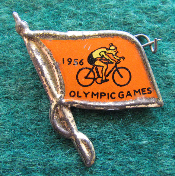 Australian Melbourne 1956 Olympic Cycling Tin Badge Flag Shaped