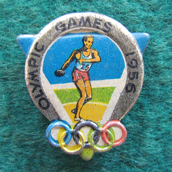 Australian Melbourne 1956 Olympic Games Discus Throwing Tin Badge