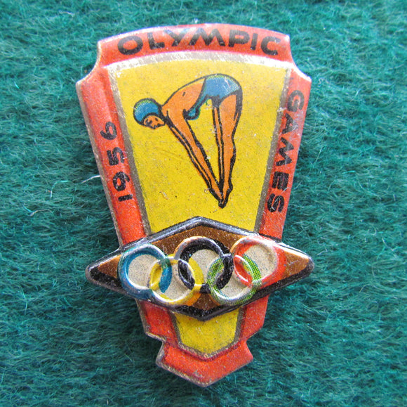 Australian Melbourne 1956 Olympic Games Diving Tin Badge