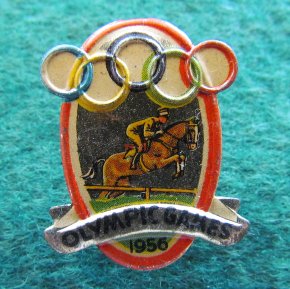 Australian Melbourne 1956 Olympic Games Horse Riding Tin Badge
