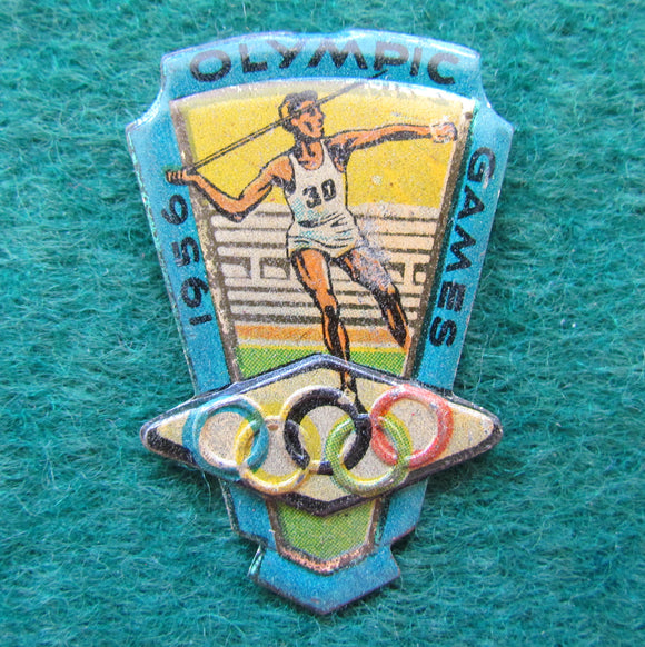 Australian Melbourne 1956 Olympic Javelin Throwing Tin Badge