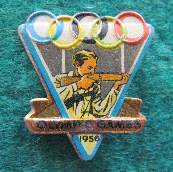 Australian Melbourne 1956 Olympic Games Shooting Tin Badge