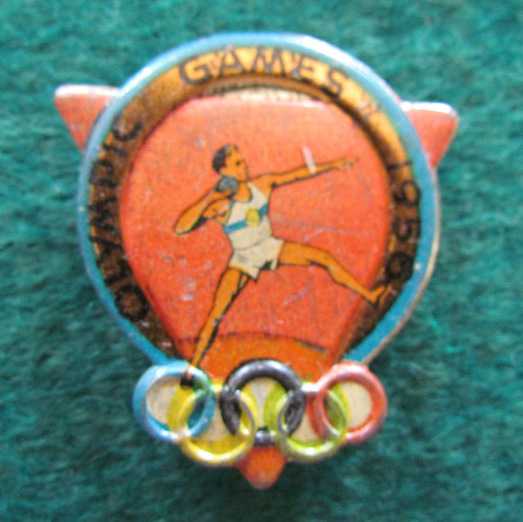 Australian Melbourne 1956 Olympic Games Shot Put Tin Badge