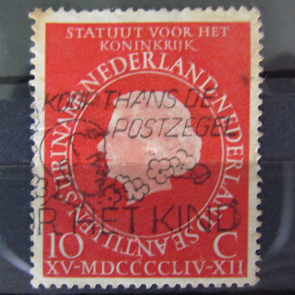 Dutch Netherlands 1954 10 Cent Queen Juliana Red Stamp Cancelled