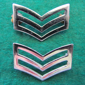 NSW Police Chrome Plated Police Triple Chevron With Thumb Screw Backs