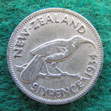 New Zealand 1934 Sixpence King George V Coin