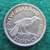 New Zealand 1939 Sixpence  King George VI Coin
