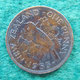 New Zealand 1955 Penny Queen Elizabeth II Coin