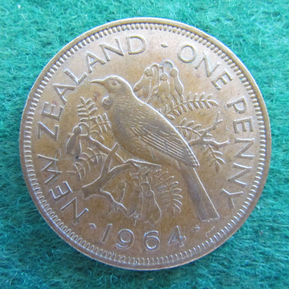New Zealand 1964 Penny Queen Elizabeth II Coin