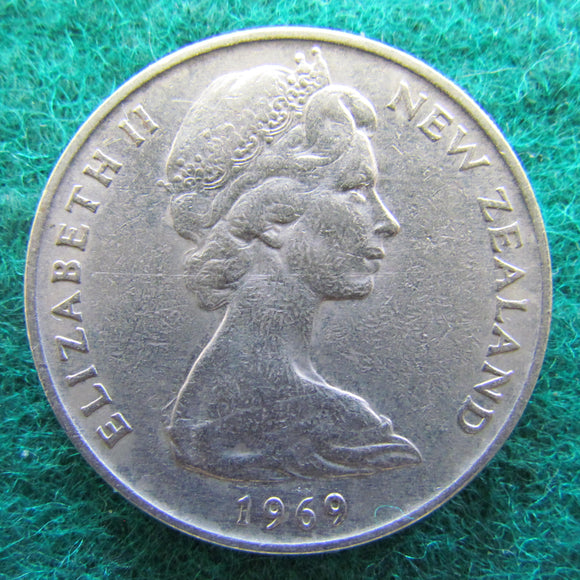 New Zealand 1969 20 Cent Queen Elizabeth Coin