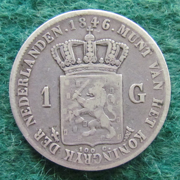 Netherlands 1846 1 Guilder King William II Coin - Circulated