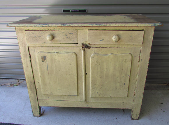 Australian Kauri Pine Shield Door 2 Drawer Dresser Base Painted 1920