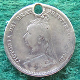 Queen Victoria Old Head Sixpence Pendant