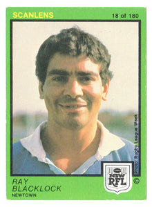 Scanlens 1982 NSW RFL Football Card 18 of 180 - Ray Blacklock - Newtown