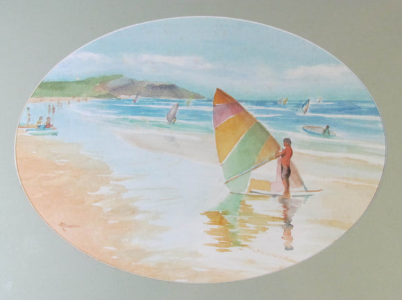 D Robson Watercolour Of Sailboarders At The Beach