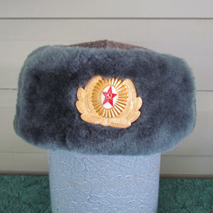 Russian Soviet Police Officers Winter Fur Cap