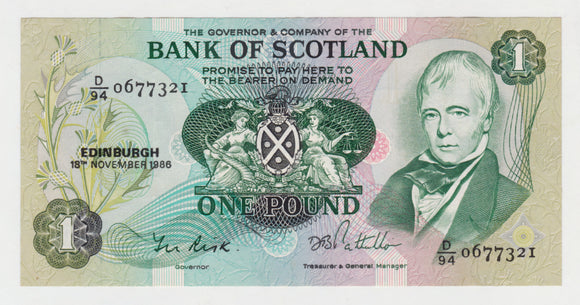Scotish Bank Of Scotland 1 Pound Note 1986 s/n D/94 0677321