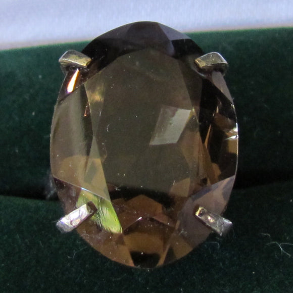 Silver Smokey Quartz Citrine Oval Cut Dress Ring 6.99 gms