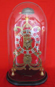 Early 19th Century Skeleton Clock Under Original Glass Dome