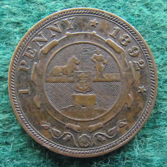 South Africa 1892 1 Penny Coin