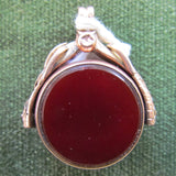 9ct Gold Spinner With Bloodstone And Cornelian Inserts Hallmark Is Unreadable