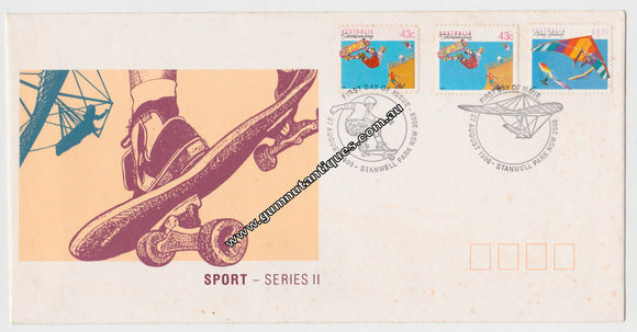 Australian First Day Cover Sport Series II 43c 43c $1.20 Postmarked 27 Aug 1990