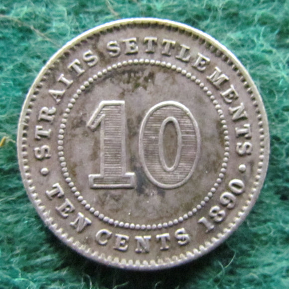 Straits Settlements 1890 10 Cent Queen Victoria Coin