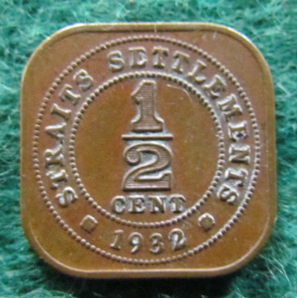 Straits Settlements 1932 1/2 Cent King George V Coin