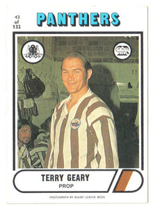 Scanlens 1976 NRL Football Card 43 of 132 - Terry Geary - Panthers