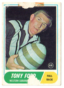 Scanlens 1969 A Grade NRL Football Card  #44 - Tony Ford - Western Suburbs