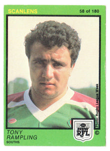 Scanlens 1982 NSW RFL Football Card 58 of 180 - Tony Rampling - Souths