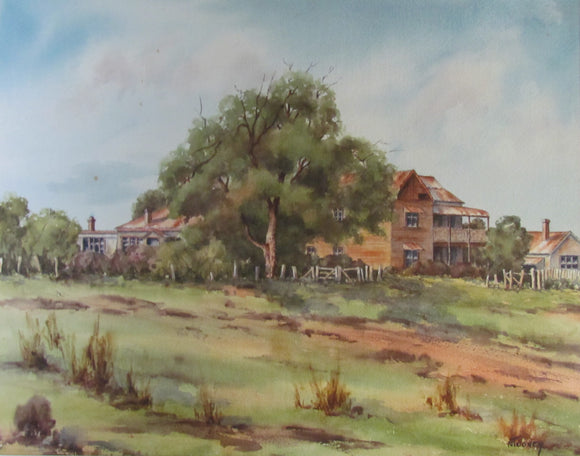 Nancy Toovey Watercolour Of A Large Homestead At Singleton 1979
