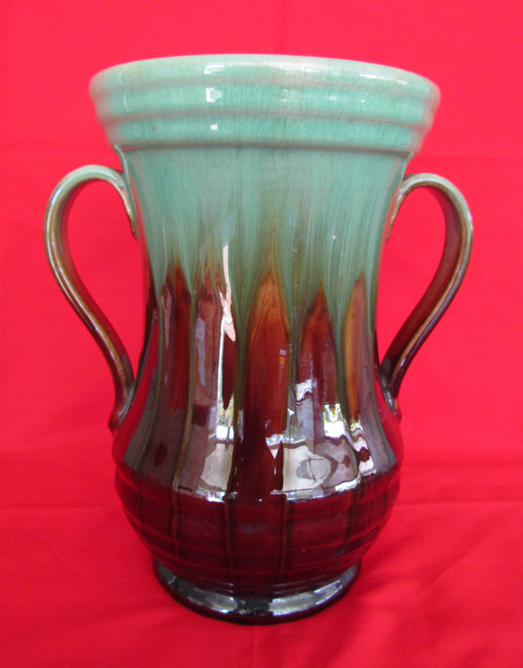 Trent Potery Green & Brown Drip Glazed Waisted Body Double Handled Vase c.1950