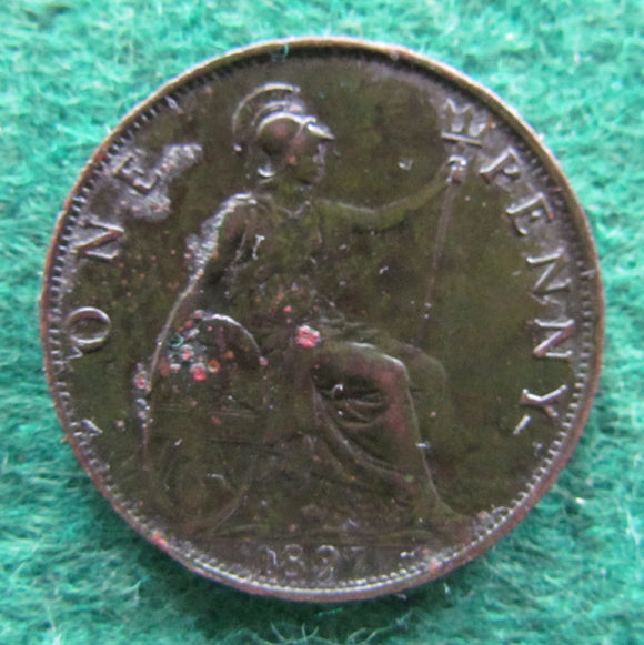 GB British UK English 1897 Penny Queen Victoria Coin