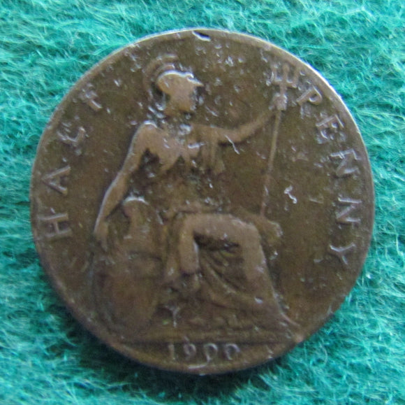 British UK English 1900 Half Penny Queen Victoria Coin Circulated