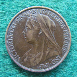 GB British UK English 1900 Penny Queen Victoria Coin Circulated