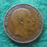 GB British UK English 1908 Half Penny King Edward VII Coin Circulated