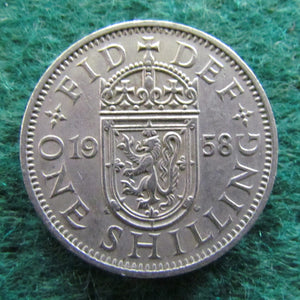 GB British UK English 1958 1 Shilling Queen Elizabeth II Coin