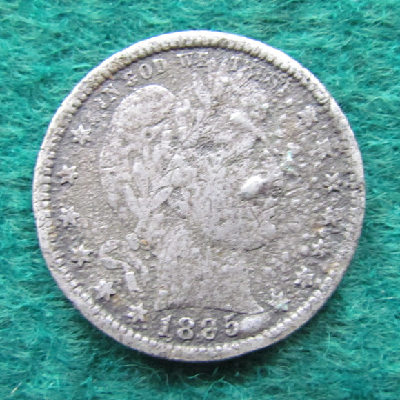 USA American 1895 Barber Quarter Coin - Circulated