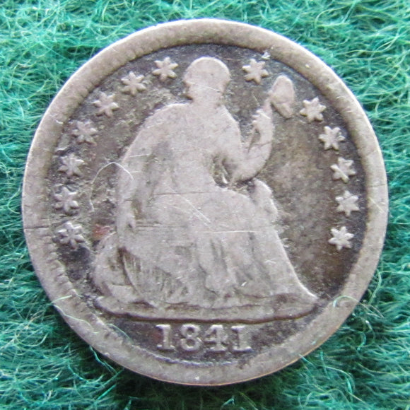 USA American 1841 Silver Seated Liberty Half Dime Coin - Circulated