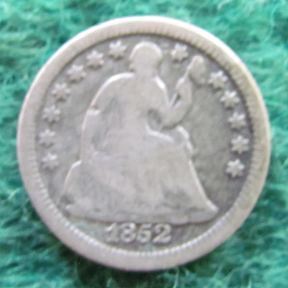 USA American 1852 Silver Seated Liberty Half Dime Coin - Circulated