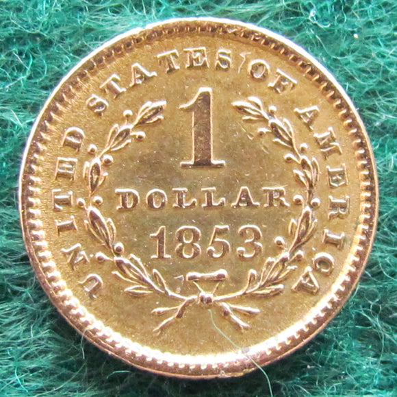 USA American 1853 Liberty Gold 1 Dollar Coin