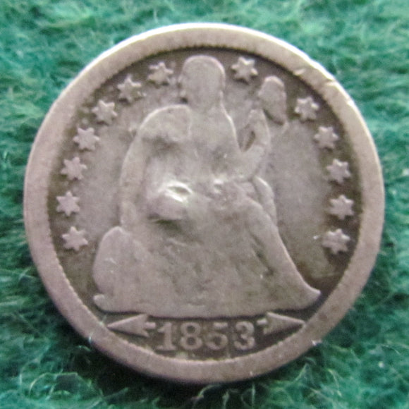 USA American 1853 Silver Seated Liberty Dime Coin - Circulated