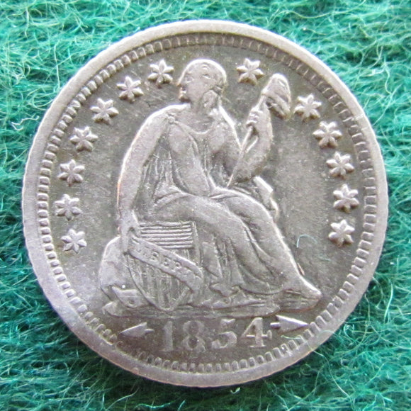 USA American 1854 O Silver Seated Liberty Half Dime Coin - Circulated