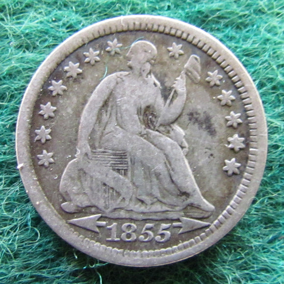 USA American 1855 Silver Seated Liberty Half Dime Coin - Circulated