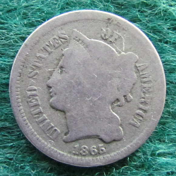 USA American 1865 3 Cent Nickel Coin Liberty Head