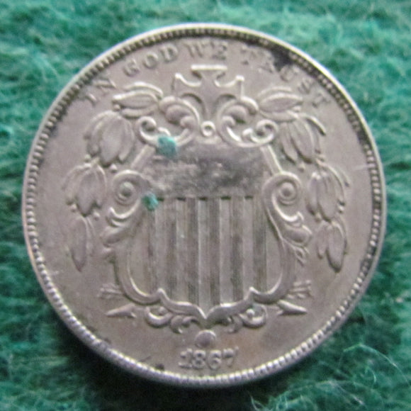 USA American 1867 Shield Nickel Coin  - Circulated Struck From Cracked Die
