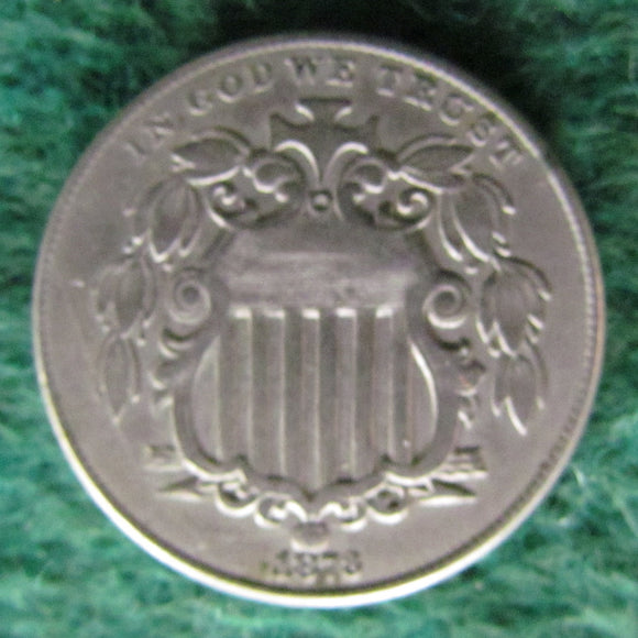 USA American 1873 Shield Nickel Coin  - Circulated Struck From Cracked Die
